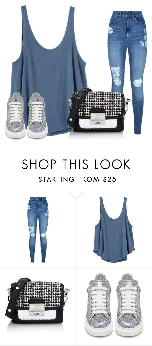 """№55"" by sadradinova-polina on Polyvore featuring мода, Lipsy, RVCA, Karl Lagerfeld и Alexander McQueen"