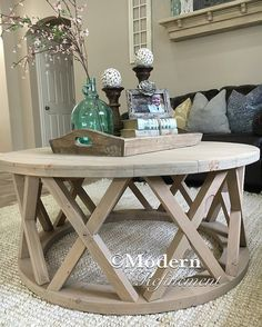 Delightful Gorgeous Rustic Round Farmhouse Coffee Table By ModernRefinement