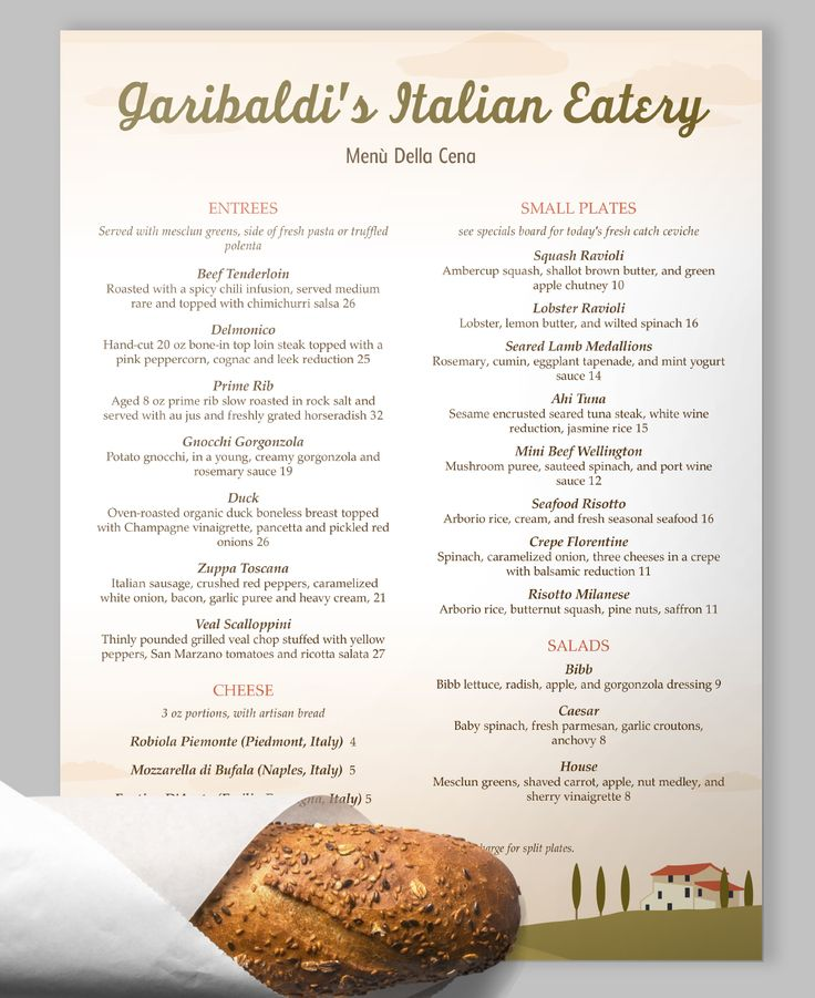 A subtle Tuscan landscape sets the stage for this Italian - sample menu template