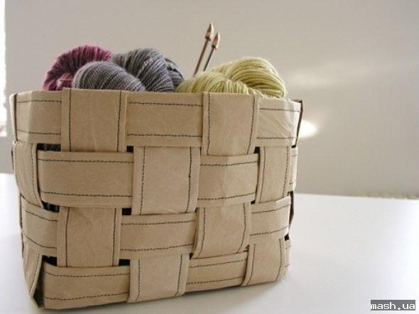 Как сделать корзину из обёрточной бумаги. Мастер-класс. — handmade продукция MASH MASH