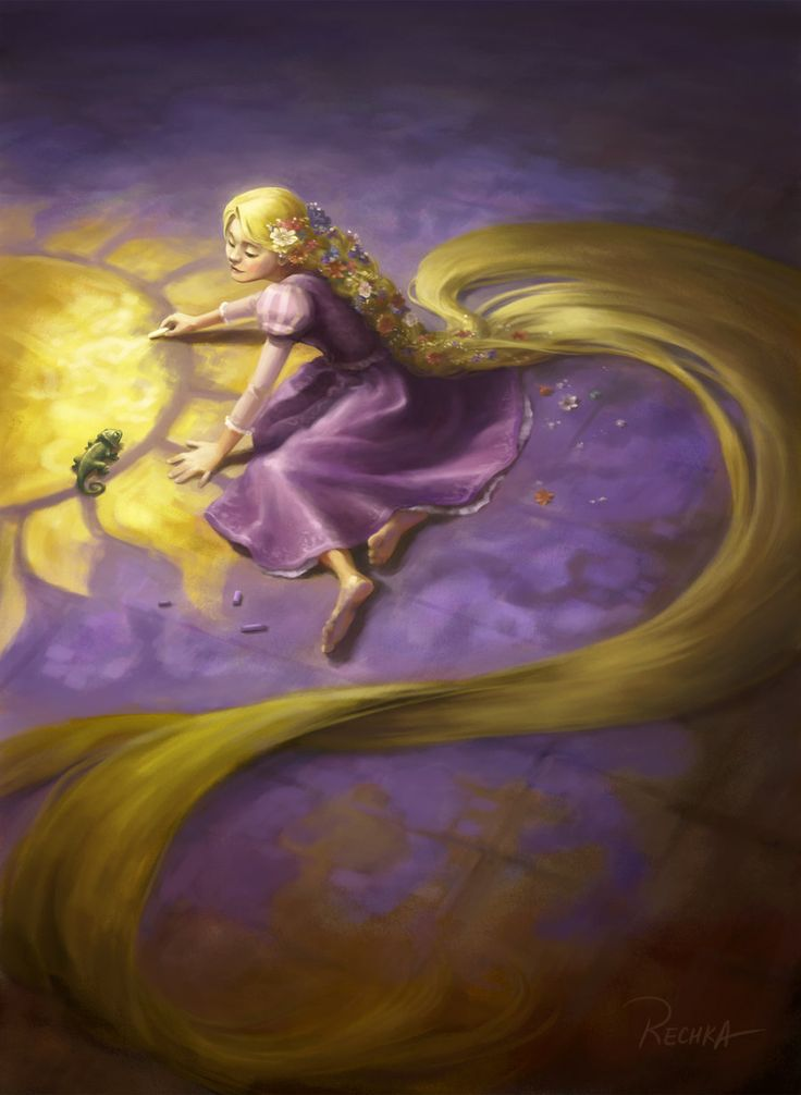 Tangled fanart; gotta say that I love the Pascal in there, too! -- Rapunzel by ~Rechka on deviantART