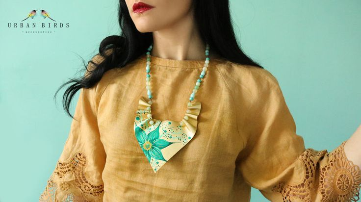 Handmade Necklace, Leather Necklace, Flower Necklace, Turquoise