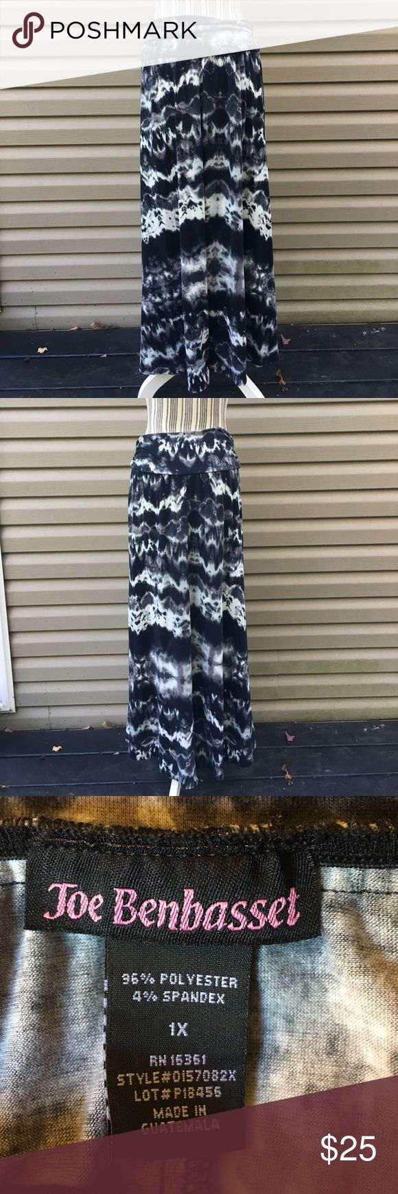 Joe Benbasset maxi skirt. Tie dyed maxi in blacks and grays. This has a lot of stretch. All measurements are approx. Joe Benbasset Skirts Maxi