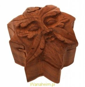 """Magic """"Green Man"""" box, hand carved out of wood"""