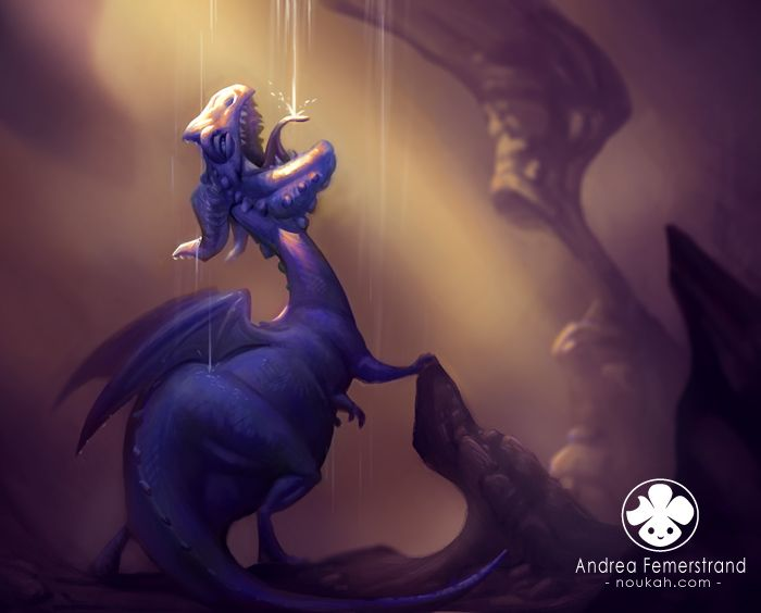 Blue cave-dwaggon by *Noukah on deviantART: Andrea Femerstrand, Blue, 3 D Illustrations, Dragon, Character Design, Art Illustration, Children S Illustrations, Kid, Awesome Illustrations