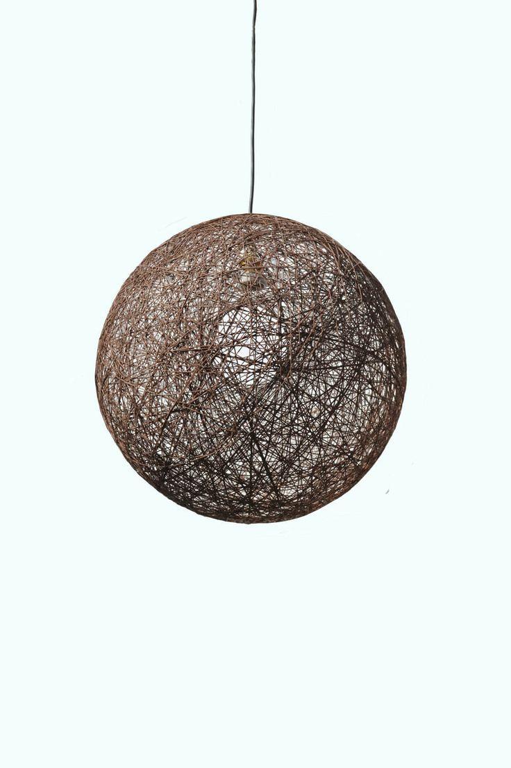 """Brown pendant lamp, sphere pendant light, design light fixture. String shadow lamp. Bedroom light fixture, modern ceiling lamp. (50cm-20"""") by LightmeUpDesign on Etsy"""