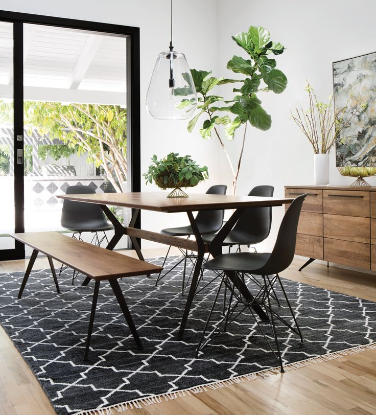 Weaver dining table black alexa side chairs a mid century inspired table crafted