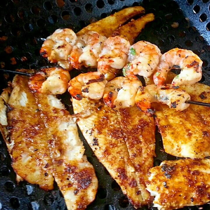 Grilled flounder and shrimp (used for fish tacos)