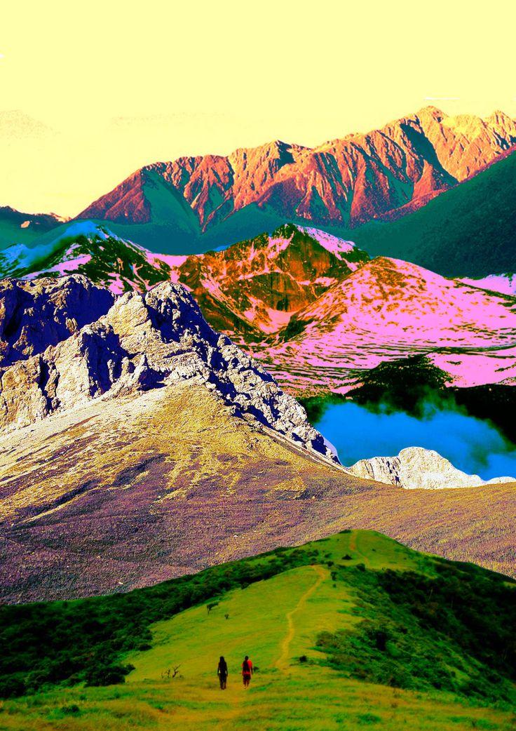 beautiful nature, mountain with sun colours