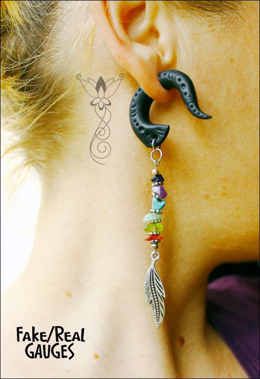 Gauge Plug Earrings Dangle Drop Fake By Sweetlyart Https Etsy Teams 25320 Wonderland Showcase Group Board