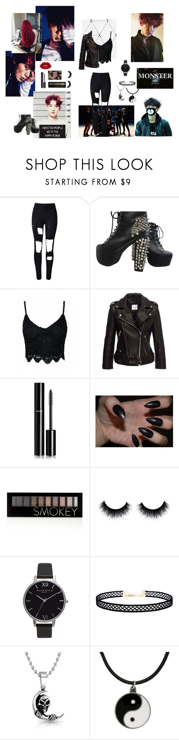 """""""Exo- Chanyeol (monster)"""" by melissa-piv ❤ liked on Polyvore featuring WithChic, Jeffrey Campbell, Anine Bing, Chanel, Forever 21, Olivia Burton, LULUS, Bling Jewelry, Carolina Glamour Collection and Lime Crime"""