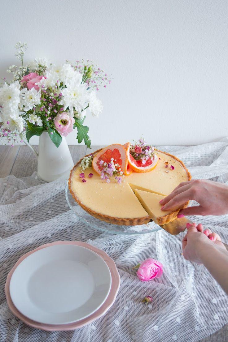 Grapefruit and Rose Cheesecake Tart