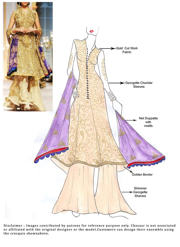 DIY Gold Cut Work Sharara Suit