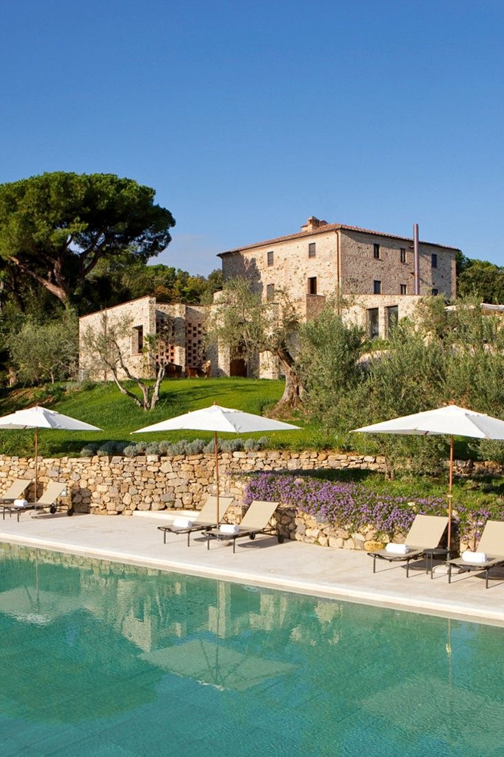 The pool overlooks the vineyards, olive groves and woodland of rural Tuscany. #Jetsetter Poggio Piglia (Tuscany, Italy)