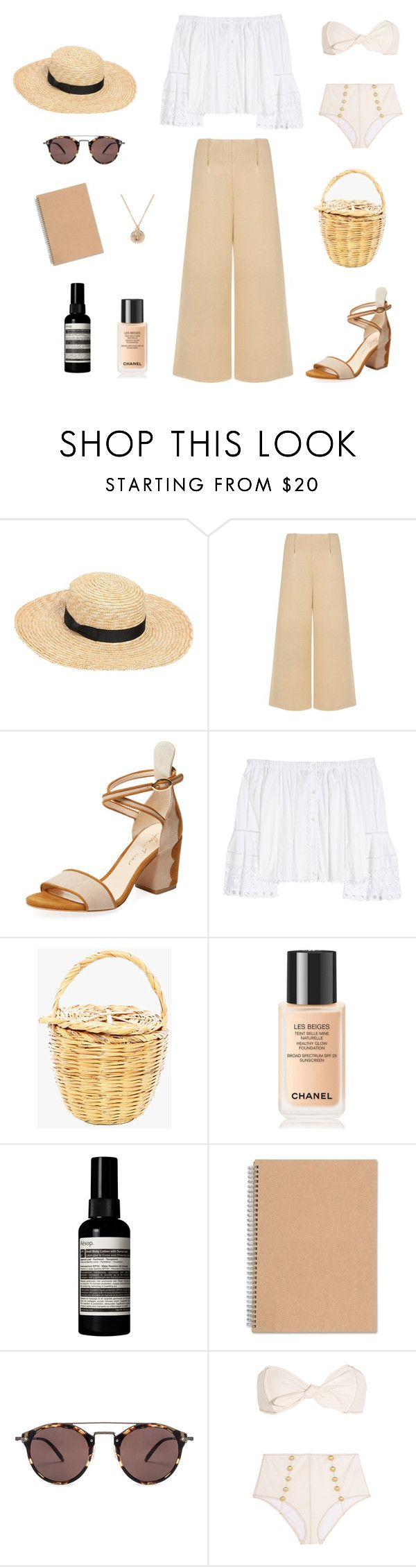"""""""on holiday"""" by coffee-and-crosses ❤ liked on Polyvore featuring Lack of Color, C/MEO COLLECTIVE, Isa Tapia, Carolina Herrera, Chanel, Aesop, Oliver Peoples, Lisa Marie Fernandez and Versace"""