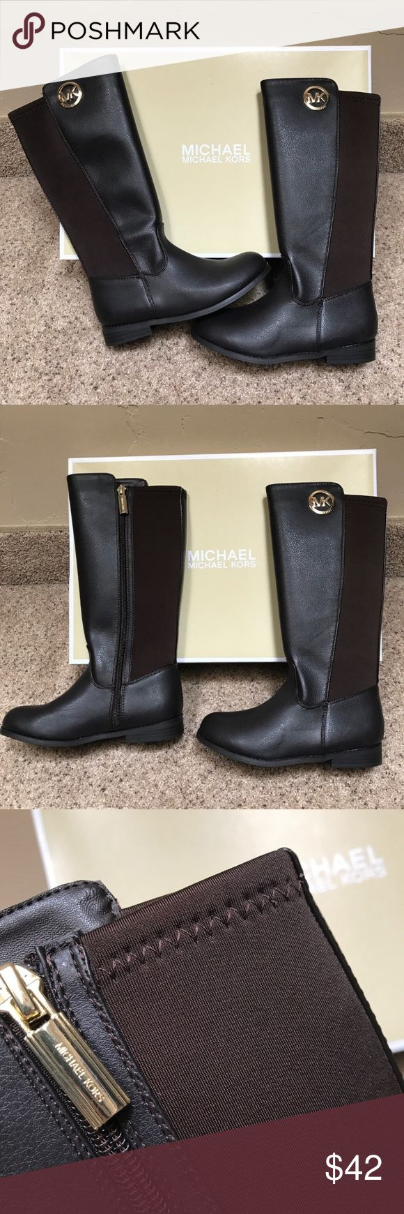 NEW Michael Kors Knee Boots Girls 1 New Michael Kors girls knee high boots in brown faux leather.  Inside leg zipper with gold logo on outside of legs.  Stretch nylon fabric behind calf for perfect fit.  Zipper pull has embossed logo.  Rounded toe.  100% authentic.  Purchased locally.  Girl size 1.  Box was damaged in shipping so this pair comes without original box.  Last pic does different size but wanted to show name of MK boot Michael Kors Shoes Boots