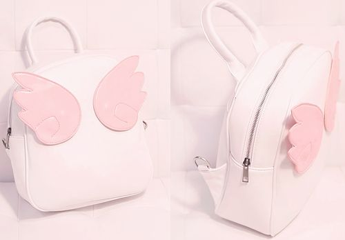 white backpack with pink wings - cute