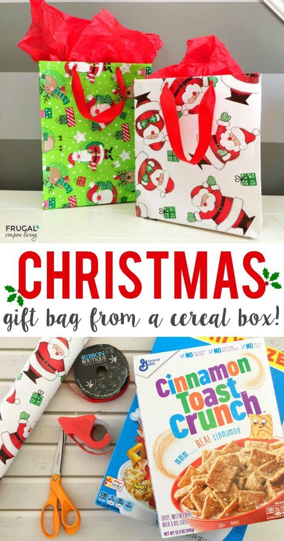 Cereal Box Gift Bag Christmas Craft | Christmas Joy | Pinterest ...