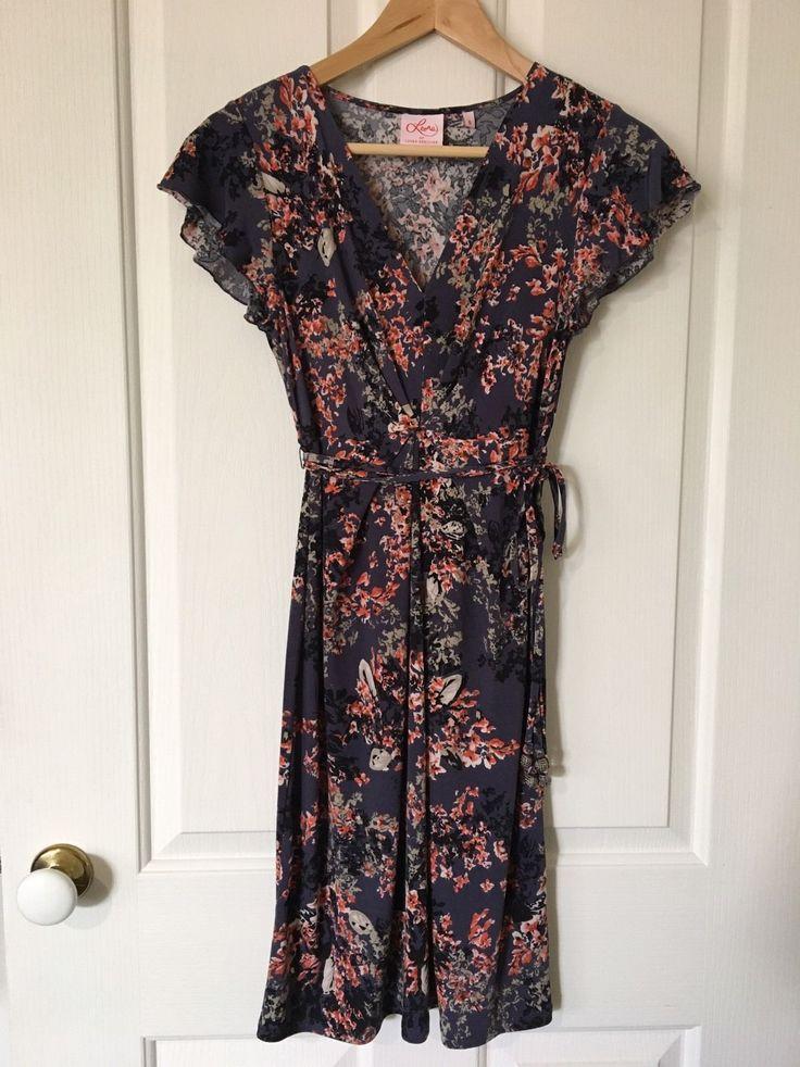 Leona by Leona Edmiston Dress Floral Print Gathered Pleated Ruffle Sleeves Sz 8