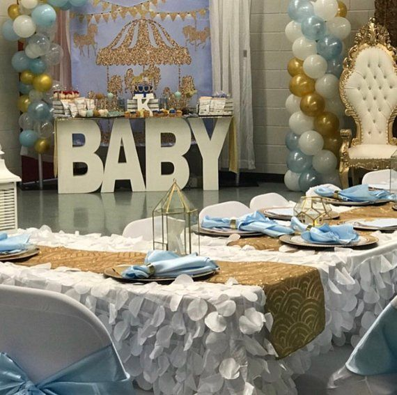 Carousel Baby Shower Giant Party Banner 5 Ft Sign Decoration