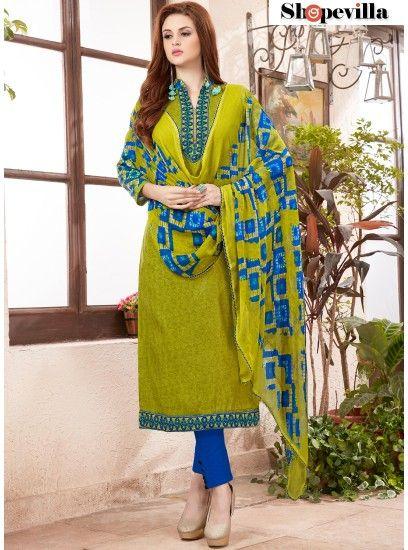 Beautiful Green Colour Cotton Straight Salwar Suit-51001
