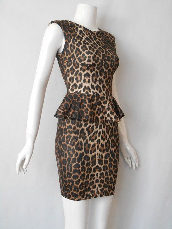 Animal print peplum dress by Lipsy