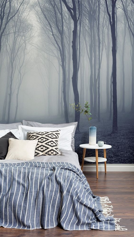 Snooze away in this dreamy forest setting. Soothing tones of grey come into play in this mesmerising forest wallpaper, creating a totally serene environment for your bedroom spaces.