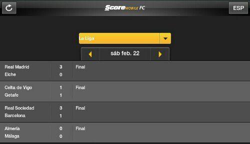 Resultados de la jornada 25 de la Liga BBVA