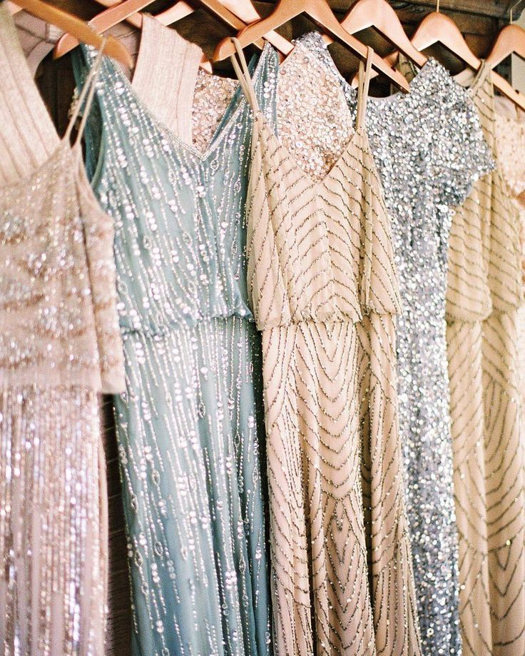 Mismatched sequin bridesmaid dresses anyone? These Adrianna Papell styles are . #sponsored