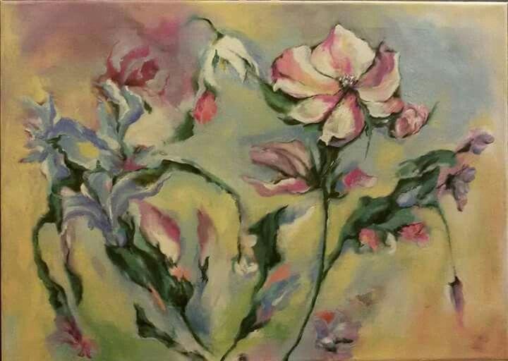 Květy, olej na plátně 50x70 cm