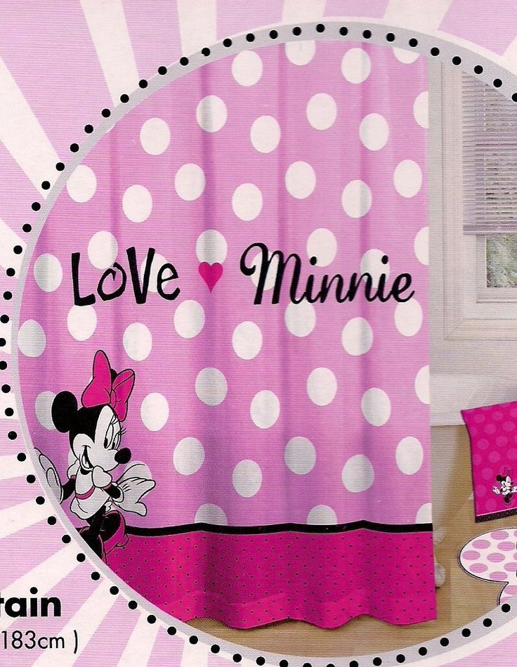 Minnie Mouse Shower Curtain Polka Dot Pink