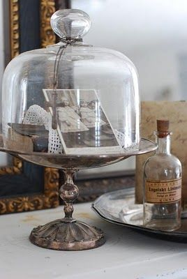 glass cloche on silver plated vintage cake stand