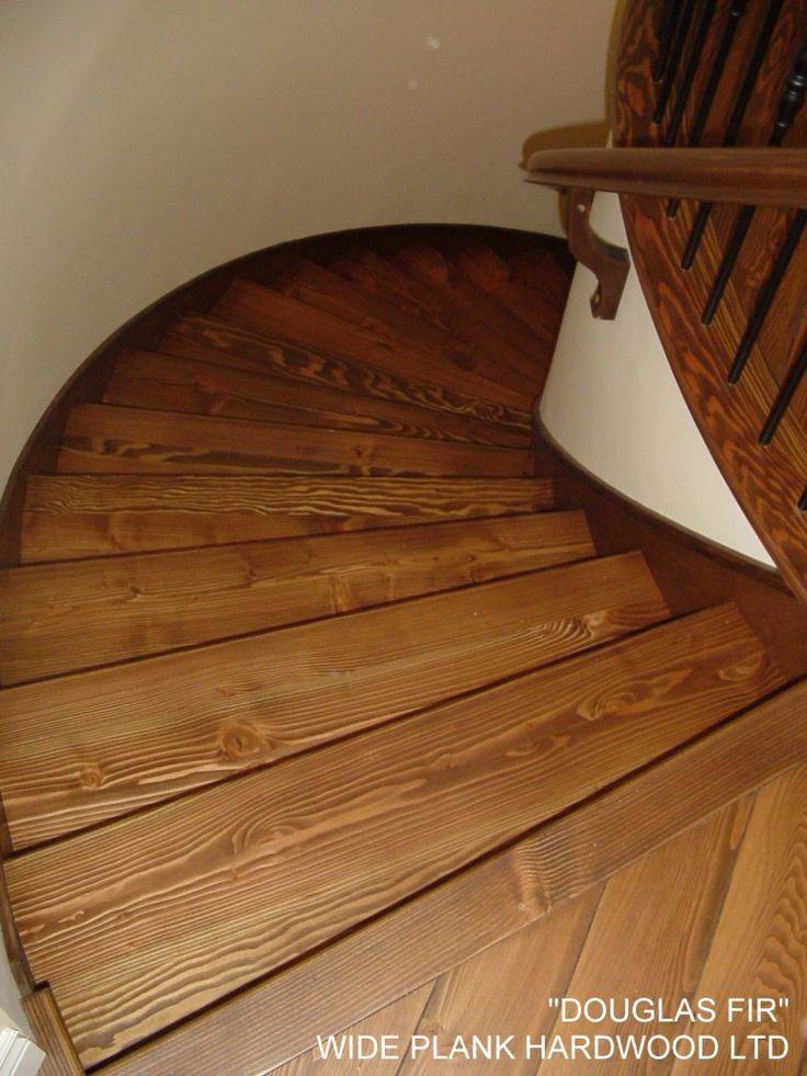 Wide Plank Hardwood   Spiral Douglas Fir staircase