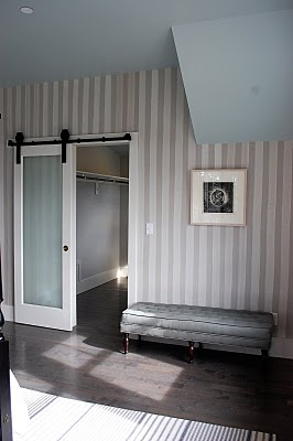 calming bedroom colors and a very cool sliding door that I want to save room ~ love
