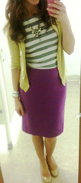 Purple skirt with grey and white striped top, yellow cardigan and nude ballerinas