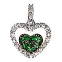 Tsavorite white gold heart pendant
