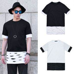Damage Extension Layer Long Round-Tee 741 by Guylook.com #guylook #fashion #outfit #menswear #edge #white #black #ootd #mensfashion #vintage #summer #style #instagram #cool #여름 # 남자스타일 #남자옷 #스타일 #패션 #패피 #빈티지