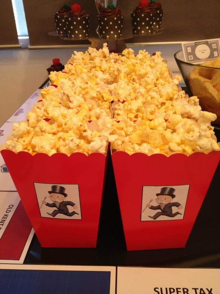 "Monopoly Man Popcorn - from the ""Monopoly"" themed kids party styled by Once Upon A Table events"