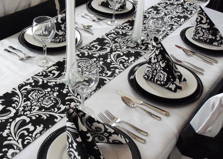 Damask Table Runner Black and White Wedding FREE SHIP. $16.00, via Etsy.