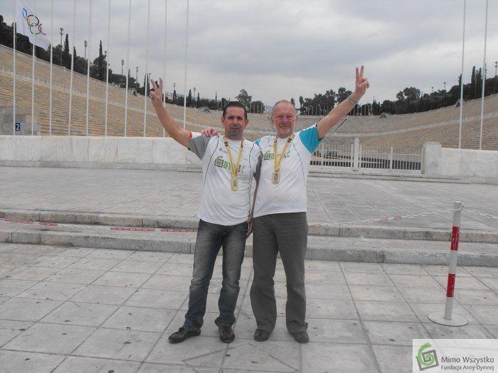 Tomasz Manikowski i Marek Gieruszyński po zakończeniu Maratonu Ateńskiego