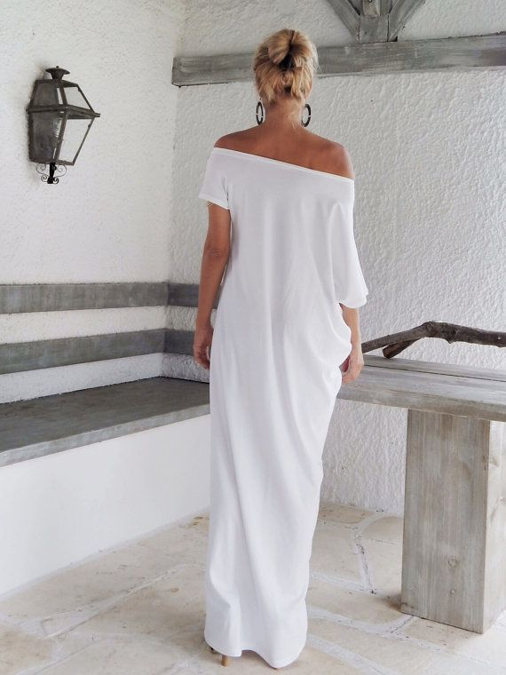 Plus size long white casual dresses