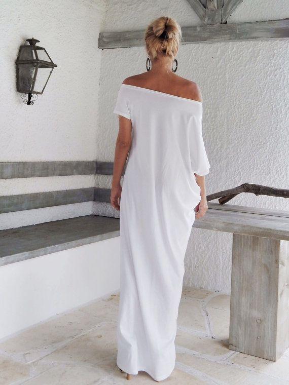 Maxi vestido blanco blanco Kaftan / asimétrico por SynthiaCouture