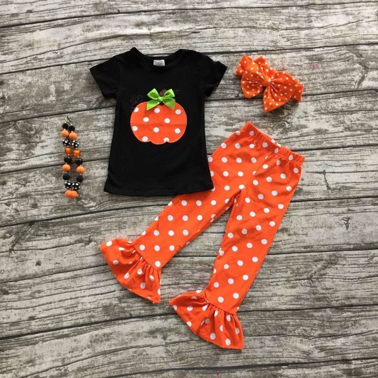 >> Click to Buy << girls clothing sets baby halloween boutique outfits girls Halloween pumpkin clothes ruffle polka dot capri pant with accessories #Affiliate