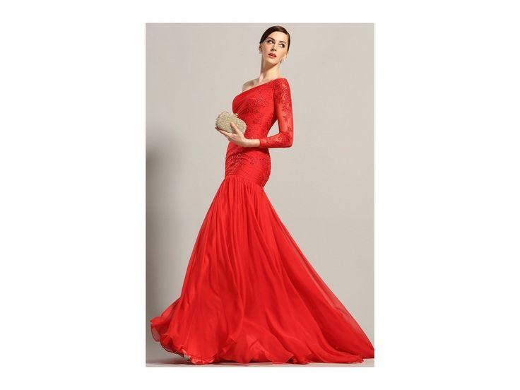 Červené plesové šaty asymetrické skládané šaty s jedním rukávem krajková aplikace živůtek má všitou podprsenku zip na zadní straně délka šatů 155 cm (od ramene k přednímu lemu)