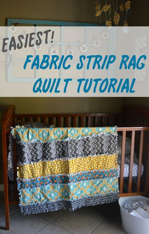 """Easiest Fabric Strip Rag Quilt Tutorial - great idea for 1/4 yard (9"""", or less, maybe split into 5.5"""" and 3.5"""") WOF strips"""