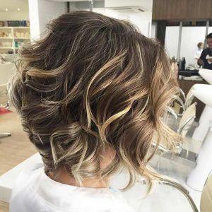 Caramel Highlights on Dark Bob Haircut