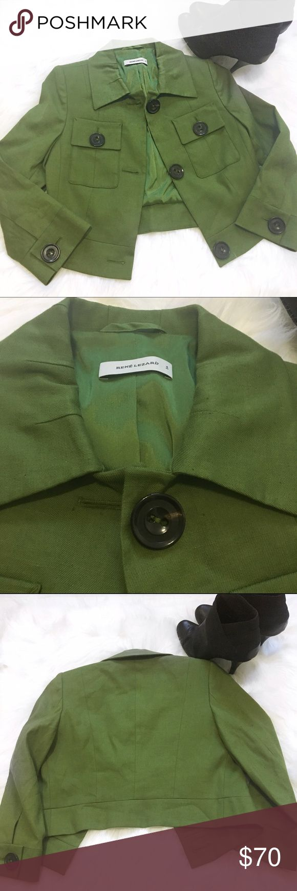 René Lezard Olive Green Blazer A gorgeous olive green colored blazer by René Lezard. Bust:32in🔹Length:17 1/2🔹The blazer is in great condition with the only small defect os the first button has a small mark as shown on the 2nd picture. René Lezard Jackets & Coats Blazers