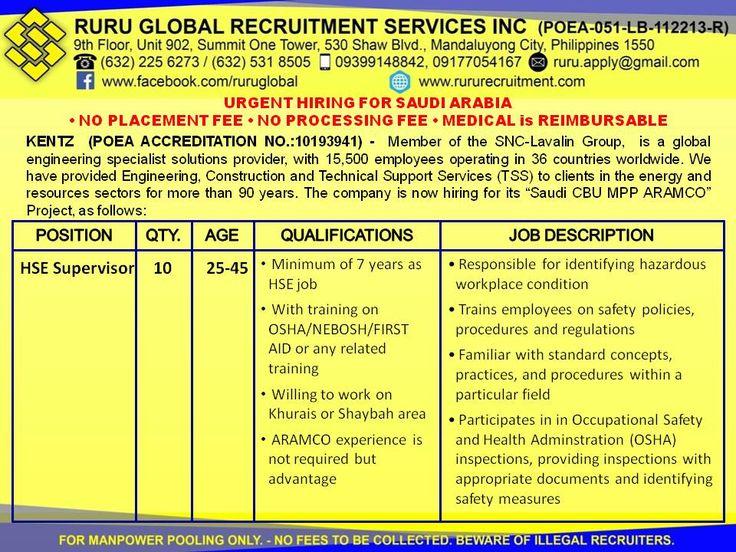 Kentz Saudi Arabia Hiring For Hse Officer And Hse Supervisor Job Posting Recruitment Services Company Job