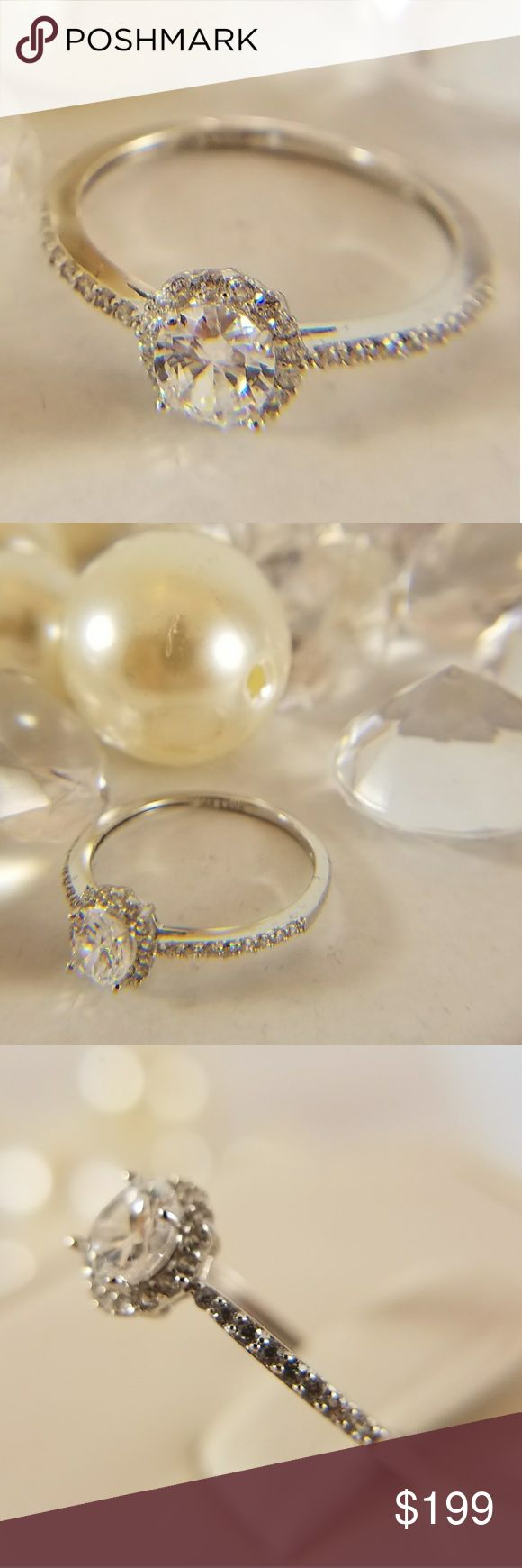 14k Solid White Gold Engagement 1/2 karat man made Diamond Center stone Engagement Ring  Available in sizes 4 5 6 7 8 9 Jewelry Rings