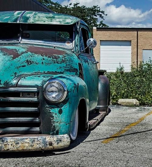 patina rod ratrod rat rod daily driver jalopy Chev Chevy Chevrolet Advanced Design pickup truck slammed over wide white wall tires and completed with a fulton visor